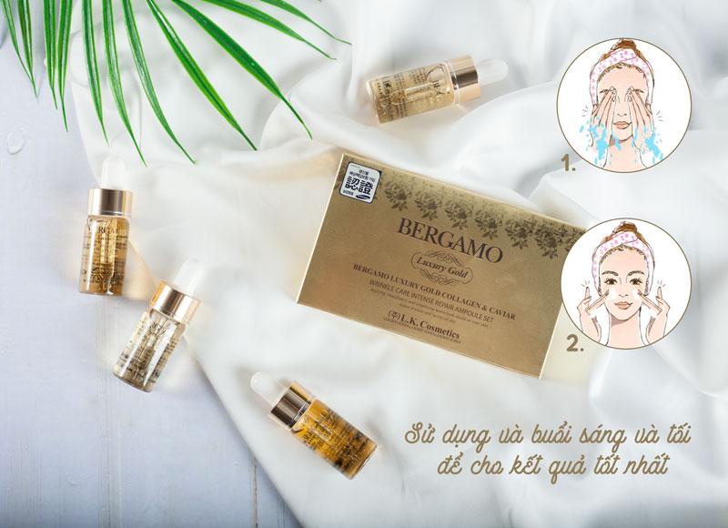 Hộp 4 Lọ Serum Collagen Luxury Gold Chống Nhăn Bergamo là sản phẩm được đông đảo phụ nữ trung niên có thể dùng serum để trẻ hóa làn da, chống lại nếp nhăn…