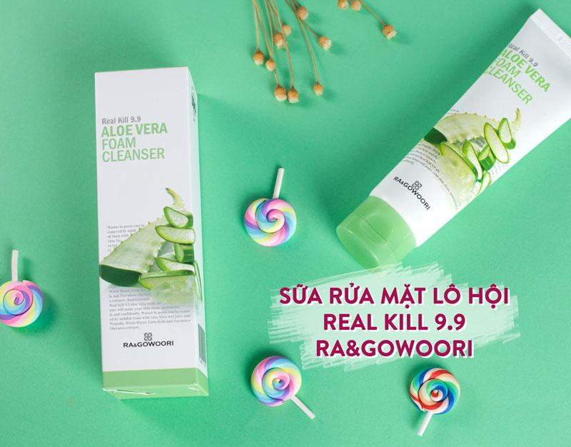 Sữa Rửa Mặt Lô Hội Real Kill 9.9 Ra&Gowoori (120 ml). Tẩy sạch bụi bẩn, chất nhờn trên da, các tế bào chết. Thu nhỏ lỗ chân lông, giúp da phái nữ mịn màng ...