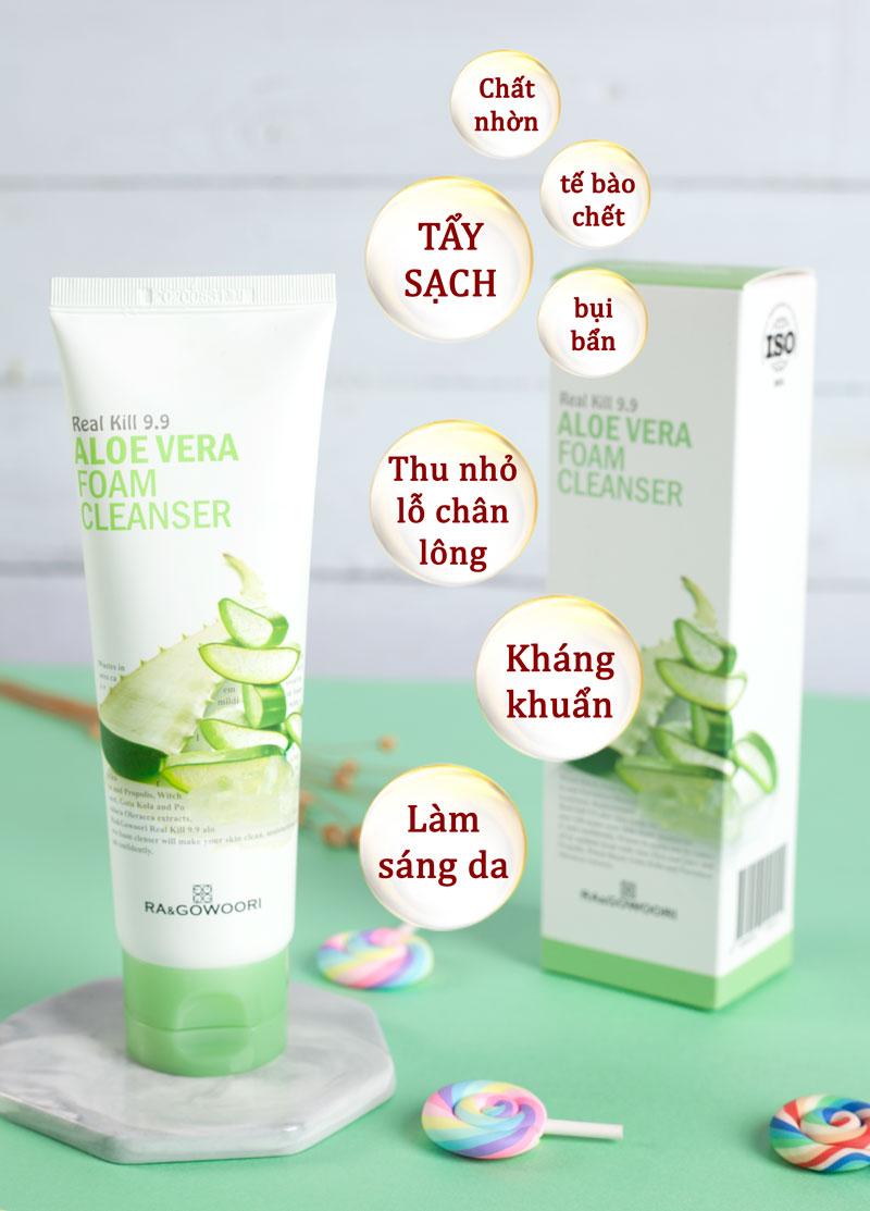 Sữa Rửa Mặt Lô Hội Real Kill 9.9 Ra&Gowoori