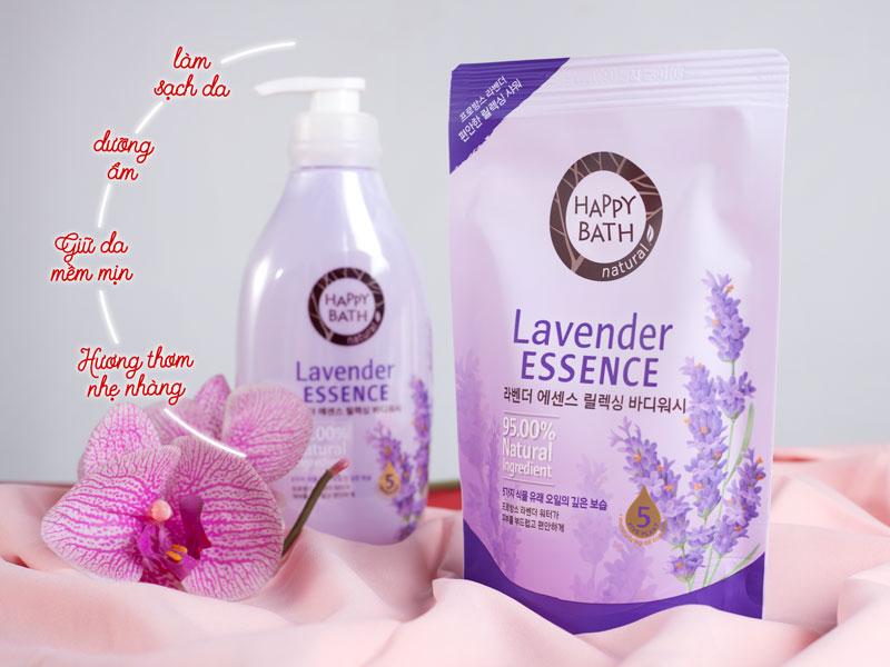 Sữa Tắm Hương Hoa Oải Hương Happy Bath (Chai 500g và Túi 250g) mang mùi thơm nhẹ nhàng, mang lại cảm giác thoải mái, sảng khoái, lưu lại mùi hương ...